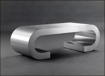 Catalog Item #1600 - Brushed Aluminum Curved Cocktail Table